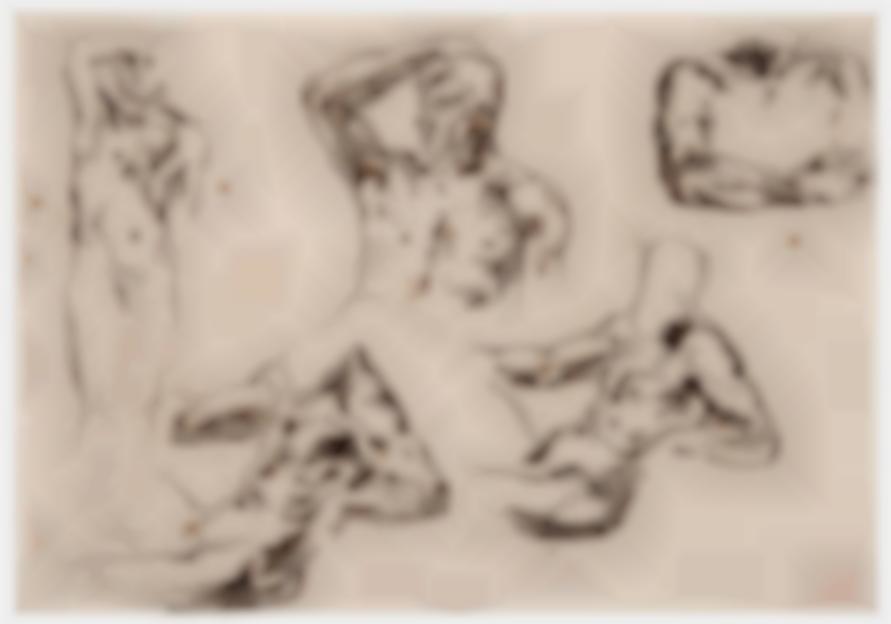 Eugene Delacroix-Study Of Male Nudes-