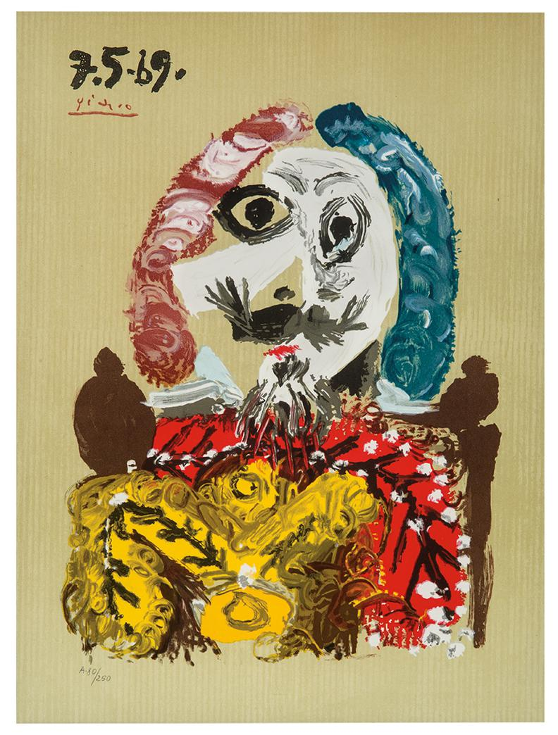 Pablo Picasso-After Pablo Picasso - Plate From Imaginary Portraits-1969