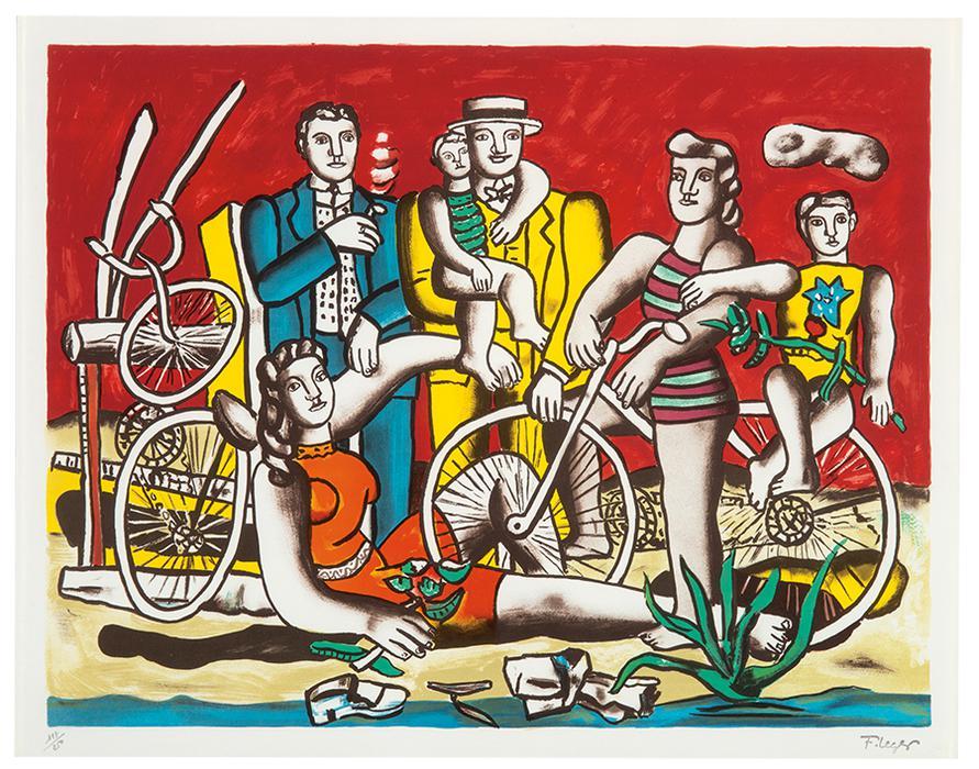 Fernand Leger-Les Loisirs Sur Fond Rouge-1949