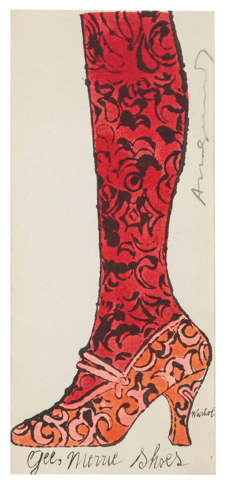 Andy Warhol-Shoe And Leg-1955