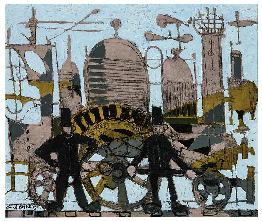 Claude Venard-Untitled (Men And Train)-