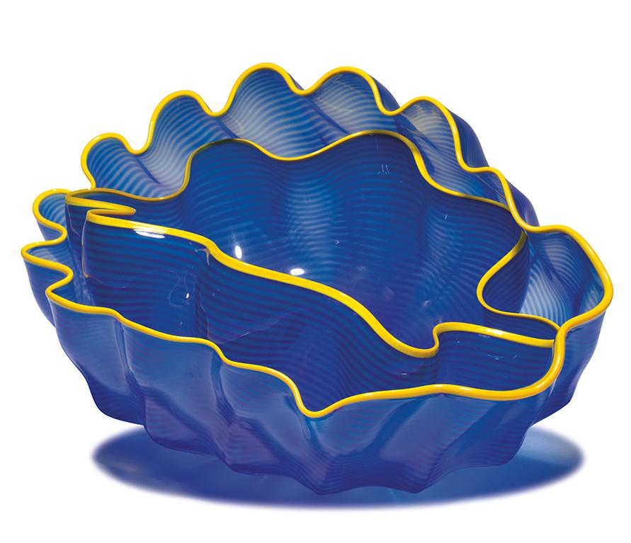 Dale Chihuly-Larkspur Seaform Set With Golden Lip Wraps (2)-2000