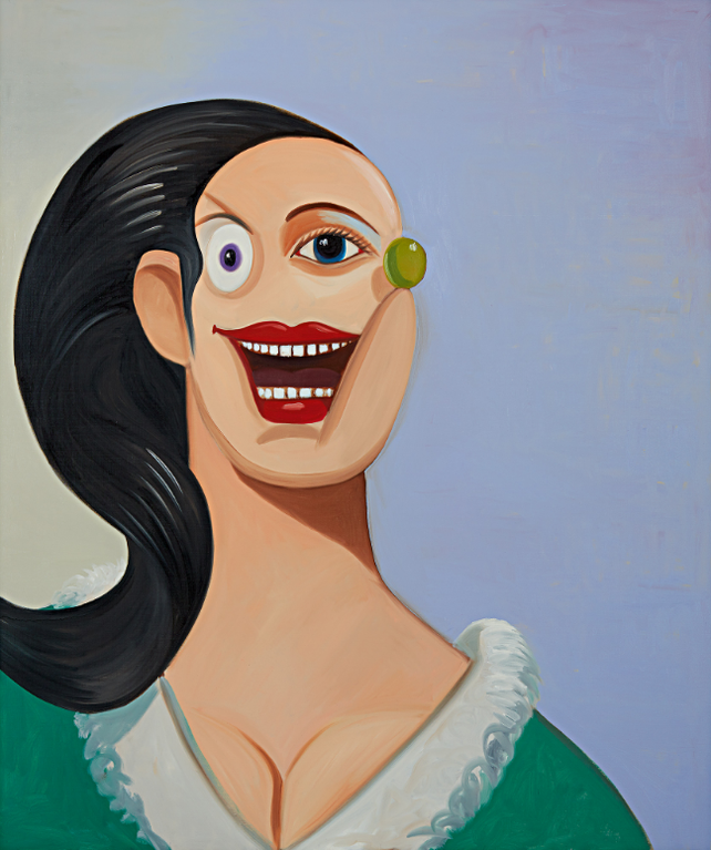 George Condo-Smiling Girl With Black Hair-2008