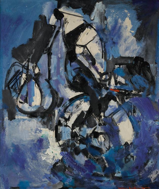 Hans Hofmann-Balance In Black, Blue And White-1947