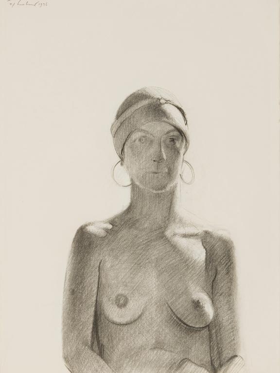 Wayne Thiebaud-Half Nude With Earrings-1976