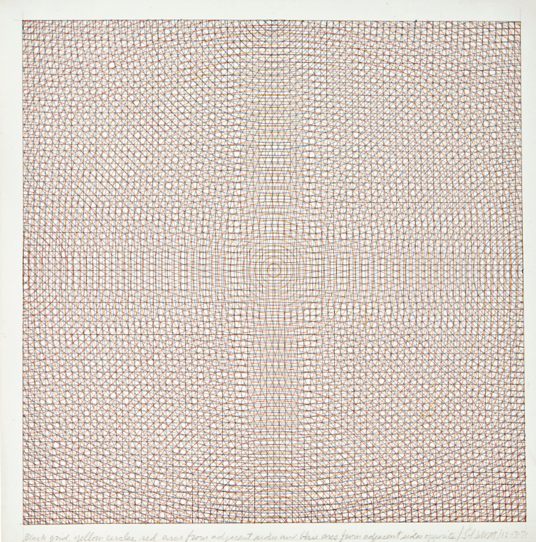 Sol LeWitt-Black Grid, Yellow Circles, Red Arcs From Adjacent Sides And Blue Arcs From Adjacent Sides Opposite-1971