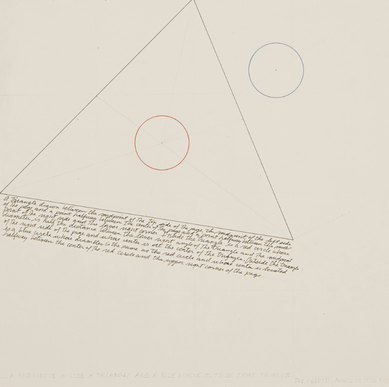 Sol LeWitt-A Red Circle Inside A Triangle And A Blue Circle Outside That Triangle-1976
