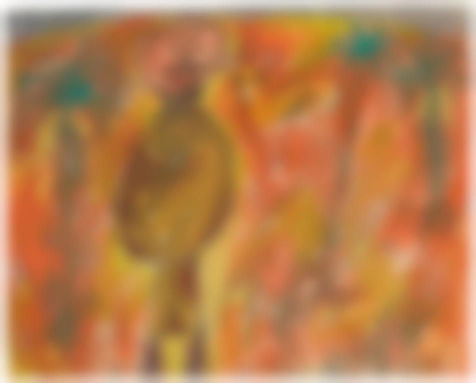 Jean Dubuffet-Arabe, Gazelle Et Trois Palmiers-1948