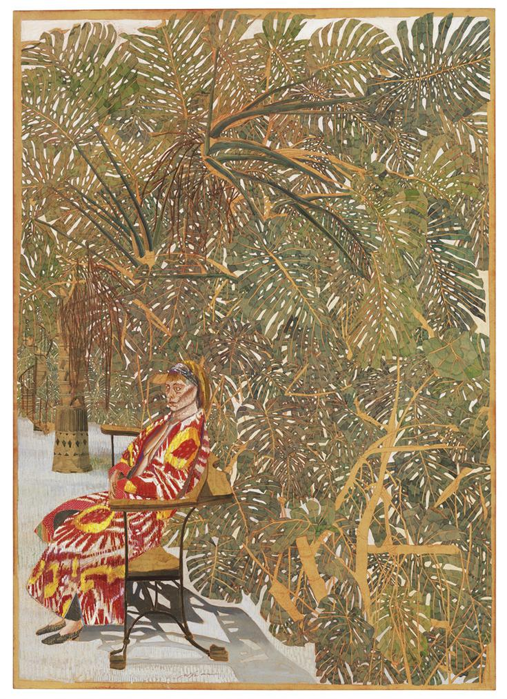Sam Szafran-Femme Assise Manteau Rouge Parmi Les Philodendrons (Seated Woman In Red Coat Among The Philodendrons)-2009