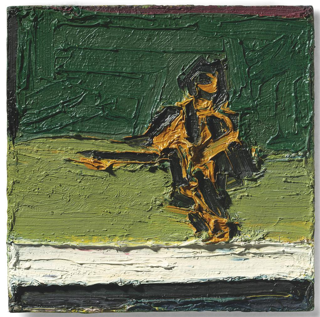 Frank Auerbach-Figure Seated On Bed II-1969