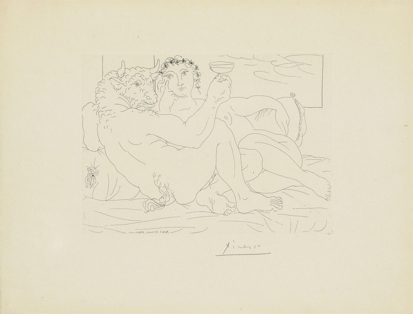 Pablo Picasso-Minotaure, Une Coupe A La Main, Et Jeune Femme, From: La Suite Vollard-1933