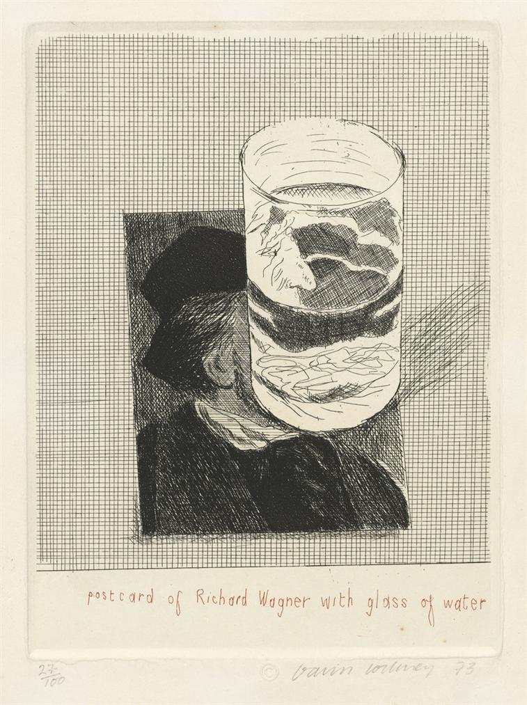 David Hockney-Postcard Of Richard Wagner With A Glass Of Water-1973