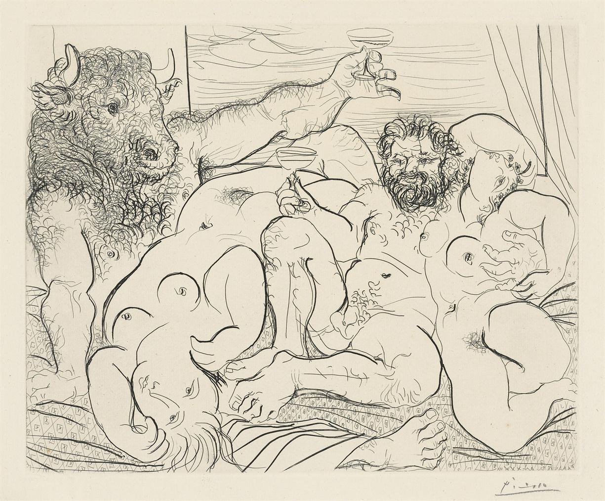 Pablo Picasso-Scene Bacchique Au Minotaure, From: La Suite Vollard-1933