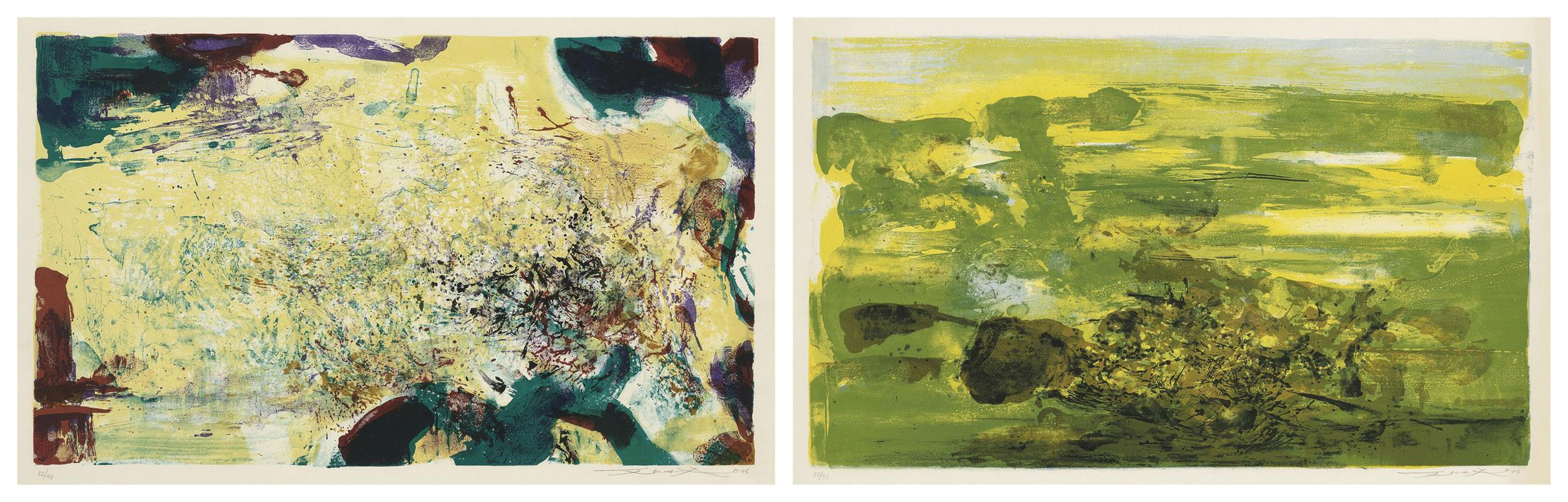 Zao Wou-Ki-Two Plates From: A La Gloire De Limage Et Art Poetique-1976