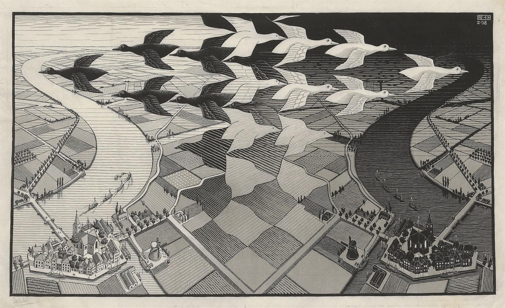 Maurits Cornelis Escher-Day And Night-1938
