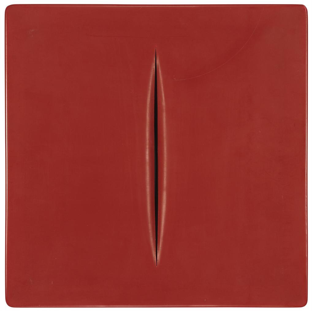 Lucio Fontana-After Lucio Fontana - Concetto Spaziale (Red)-1968