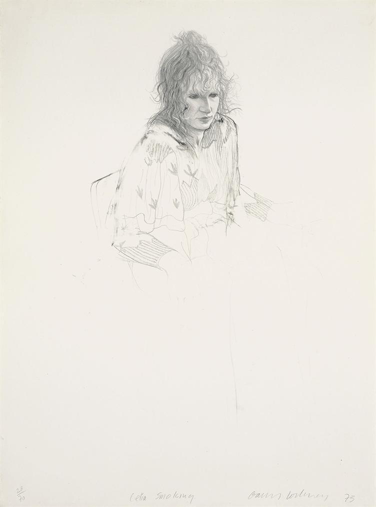 David Hockney-Celia Smoking-1973