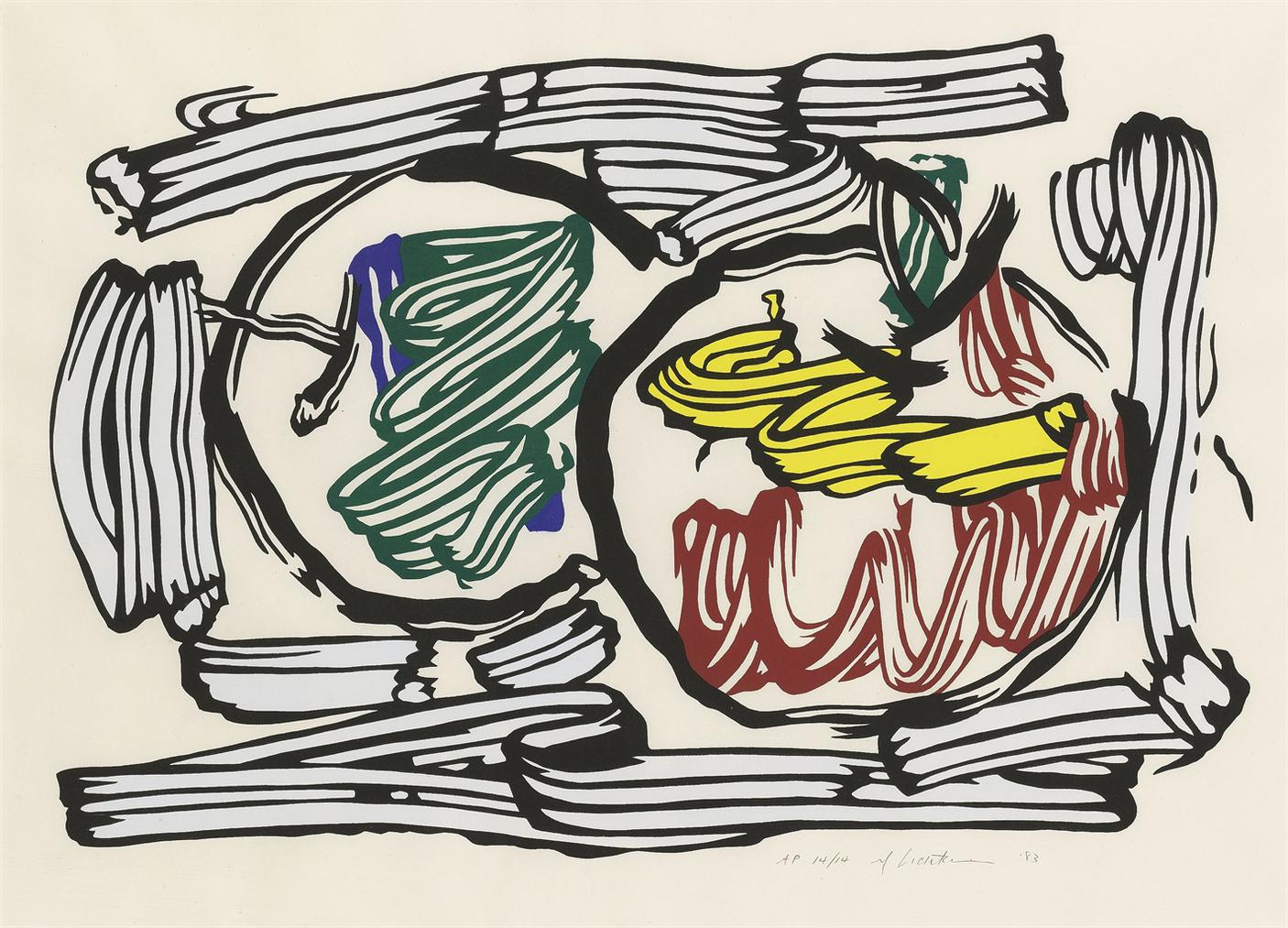 Roy Lichtenstein-Two Apples, From: Seven Apple Woodcut Series-1983