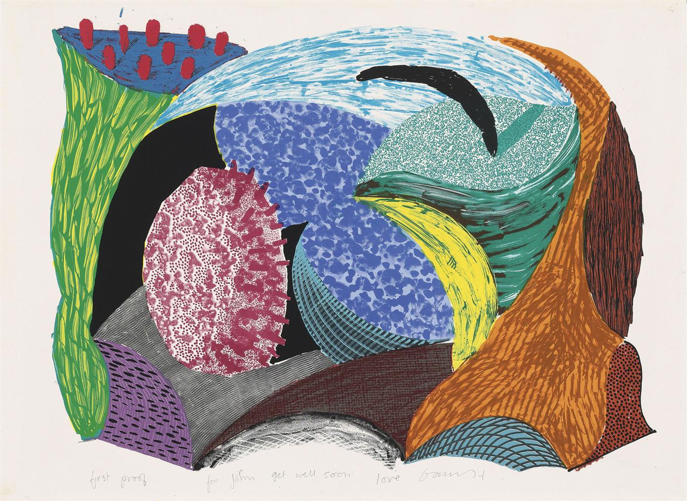 David Hockney-Blue Hang Cliff, From: Some New Prints-1993