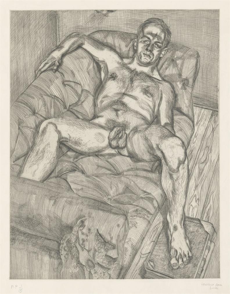 Lucian Freud-Man Posing-1985