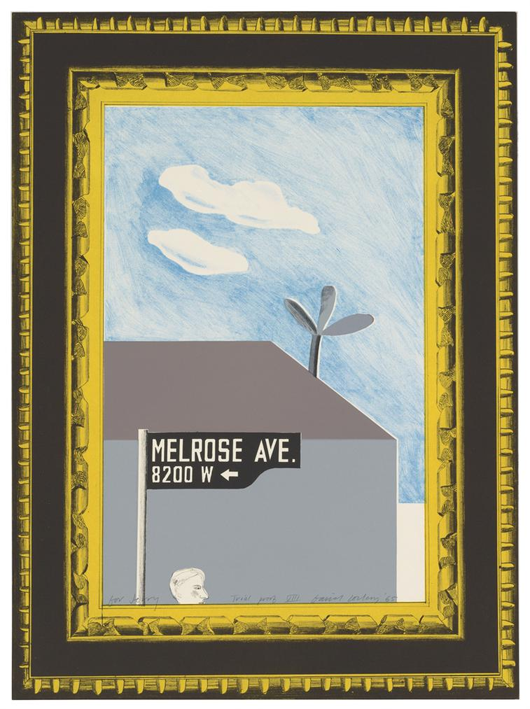 David Hockney-Picture Of Melrose Avenue In An Ornate Gold Frame, From: A Hollywood Collection-1965