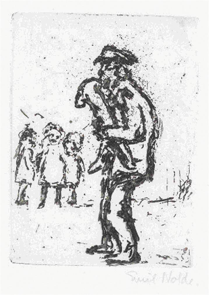 Emil Nolde-Strassenmusikant Und Kinder-1909