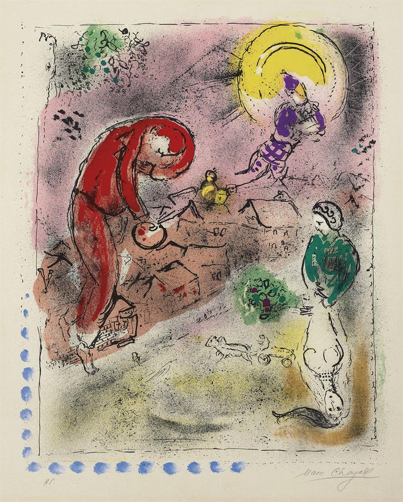 Marc Chagall-Les Toits-1956