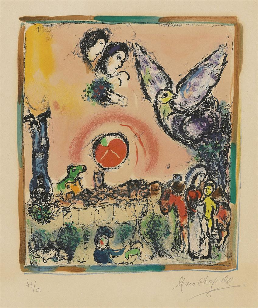 Marc Chagall-Composition Champetre-1965