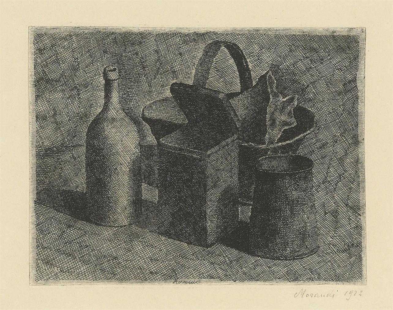 Giorgio Morandi-Natura Morta Con Il Cestino Del Pane (Lastra Piccola)-1921