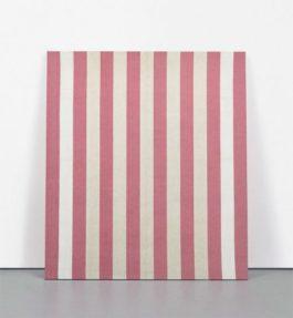 Daniel Buren-Peinture Acrylique Blanche Sur Tissu Raye Blanc Et Rouge-1968