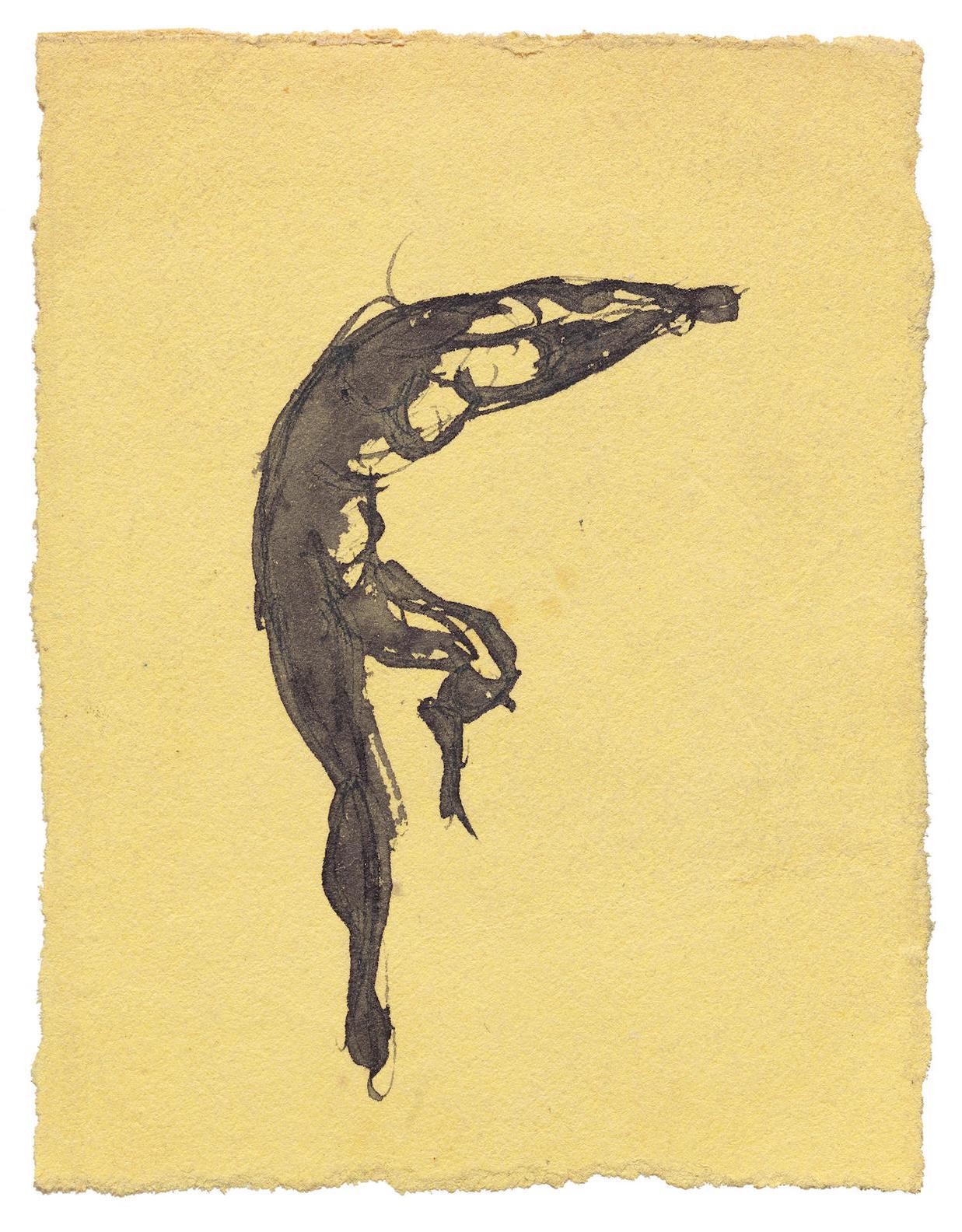 Auguste Rodin-Danseur Courbe Vers La Droite, Un Pied En Lair Et Les Bras Joints Au-Dessus De La Tete - Etude De Patineur Sur Glace?-1870