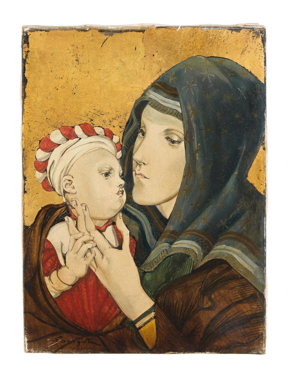 Tsuguharu Foujita-Vierge Et Enfant-1953