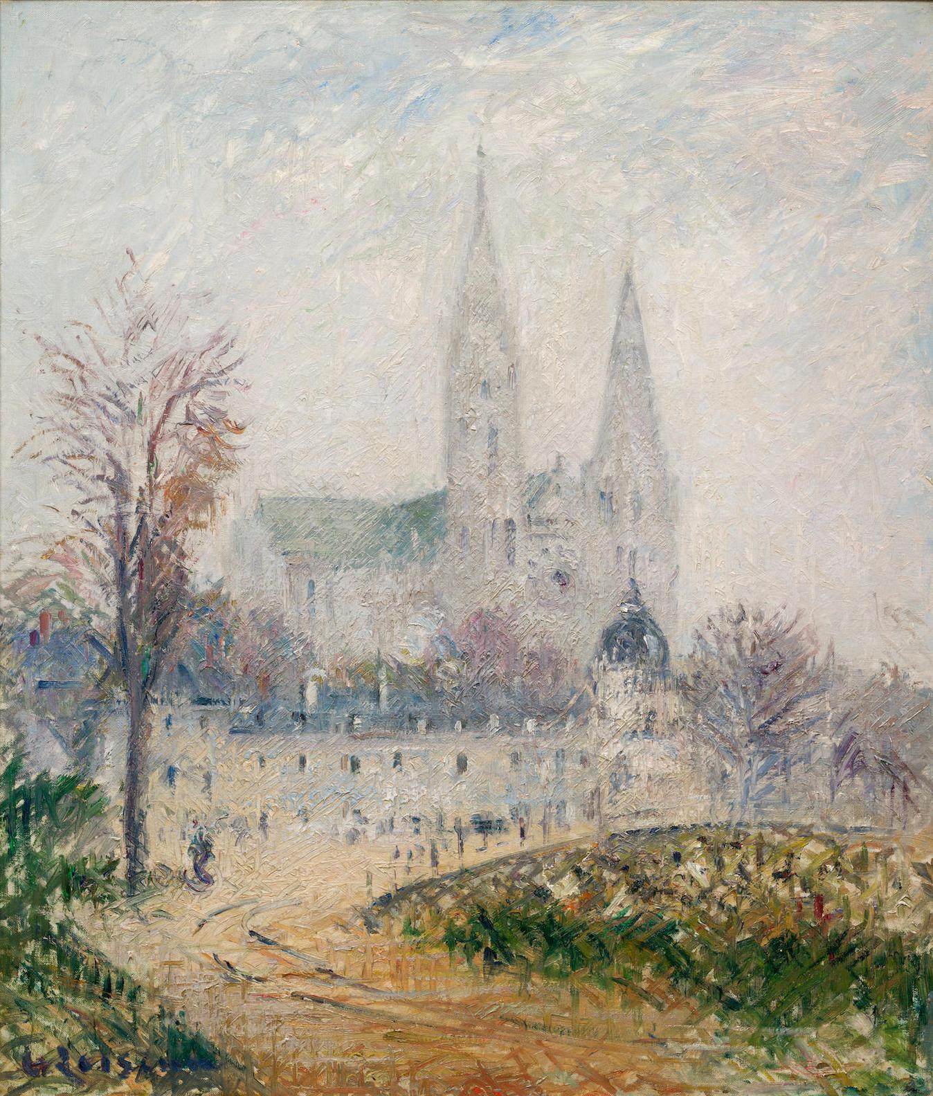 Gustave Loiseau-Cathedrale De Chartres, Effet De Brouillard-1931