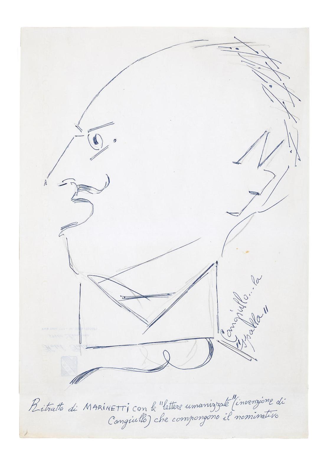 Francesco Cangiullo - Ritratto Di Marinetti Con Le Lettere Umanizzate-1970