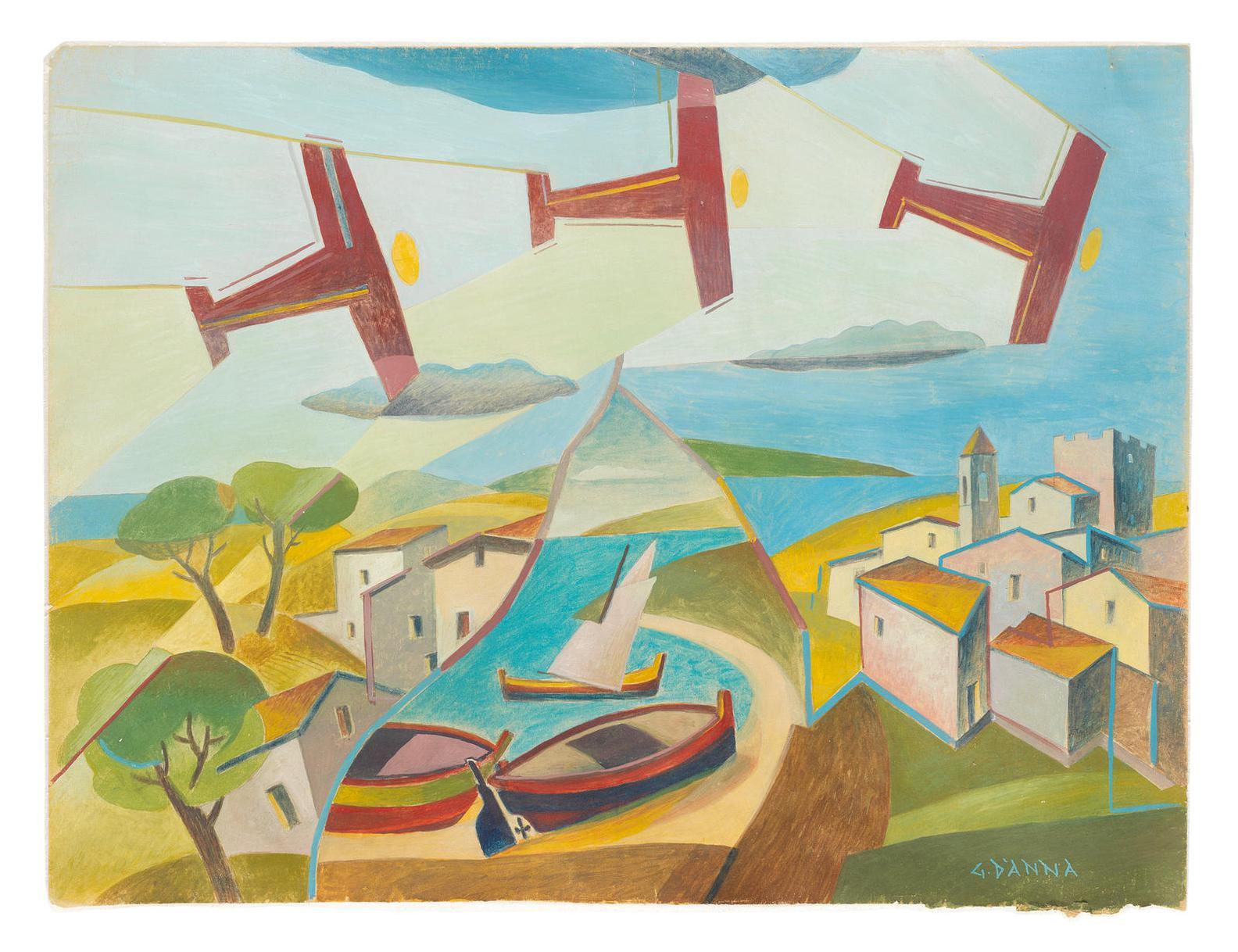 Giulio D'Anna-Studio Per Simultaneita Di Un Paesaggio-1929