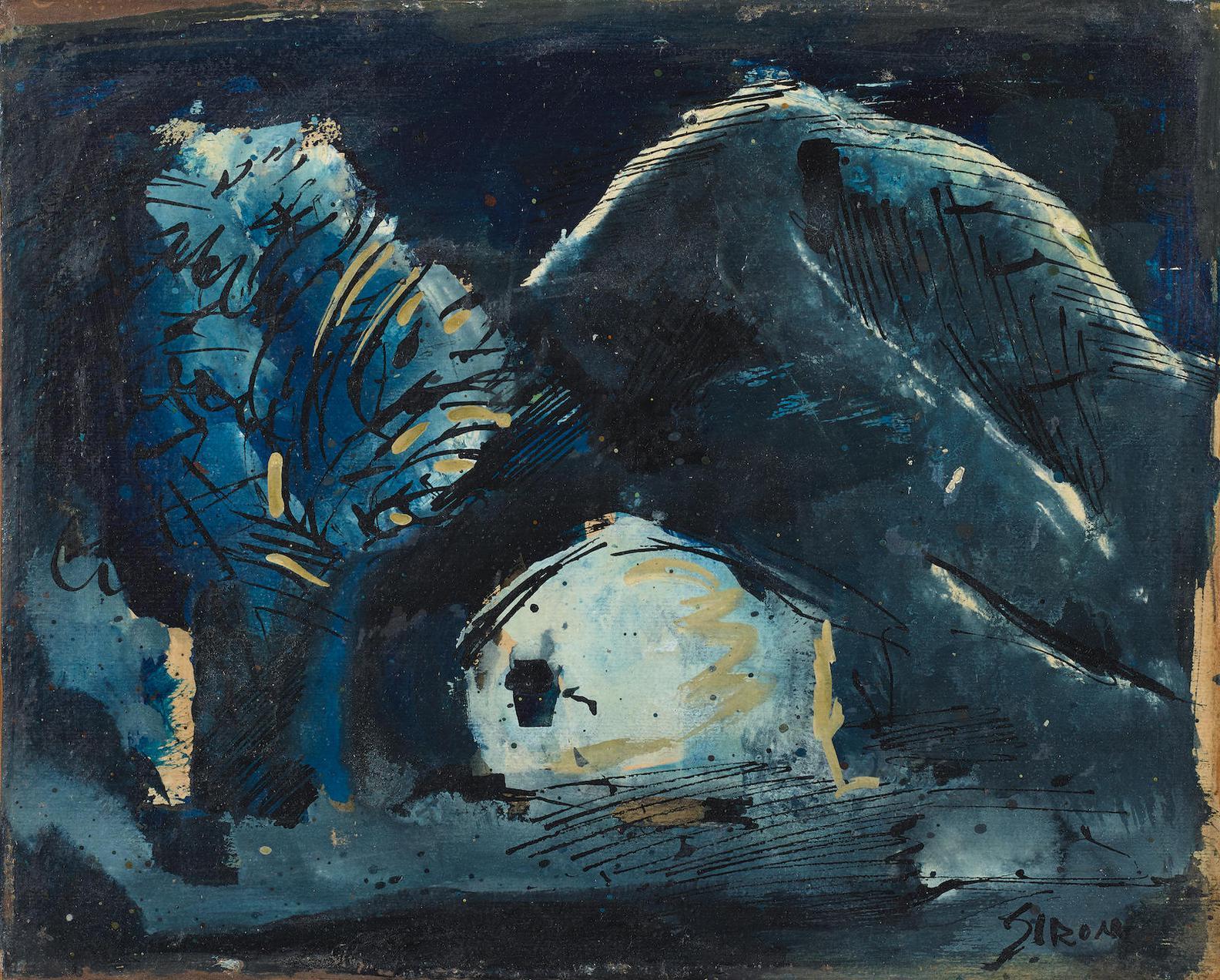 Mario Sironi-Paesaggio Con Albero, Casa E Montagna-1952