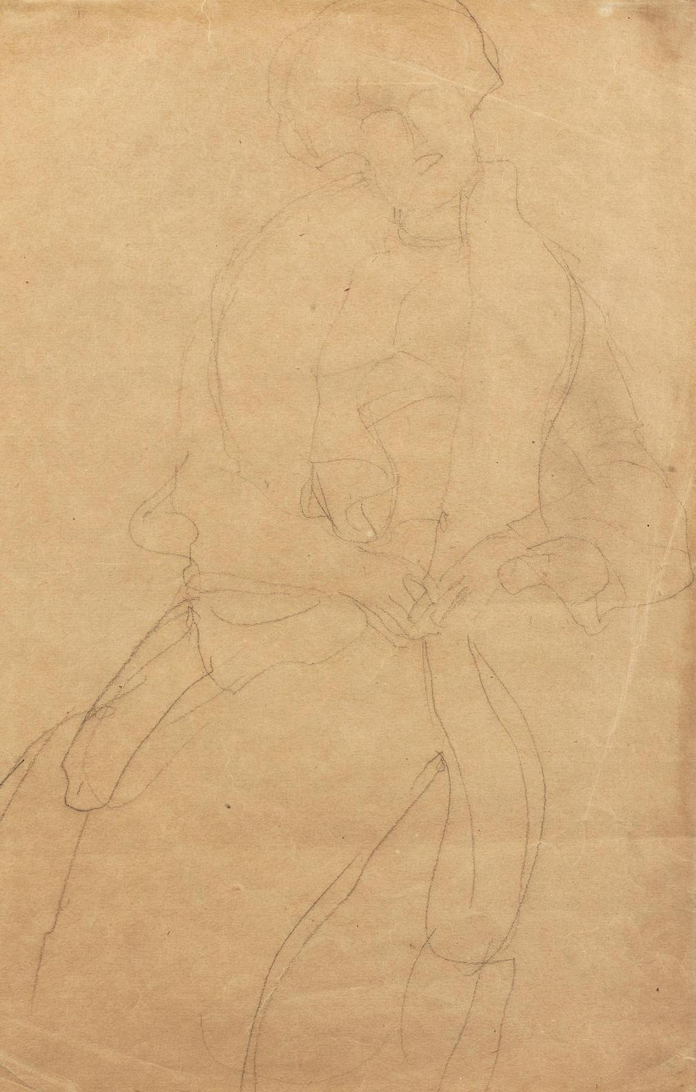 Gustav Klimt-Sitzend Von Vorne, Den Kopf Etwas Nach Links Geneigt (Hermine Gallia)-1904