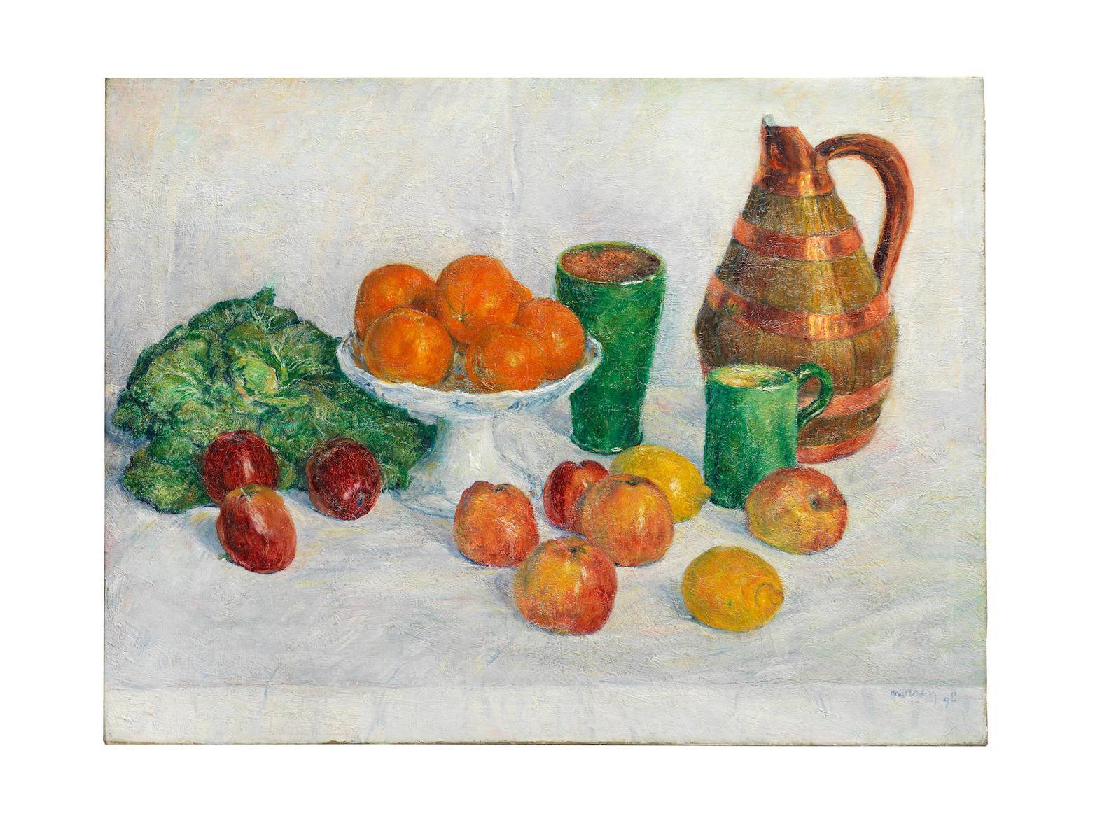George Morren - Nature Morte Aux Fruits Et Legumes-1898