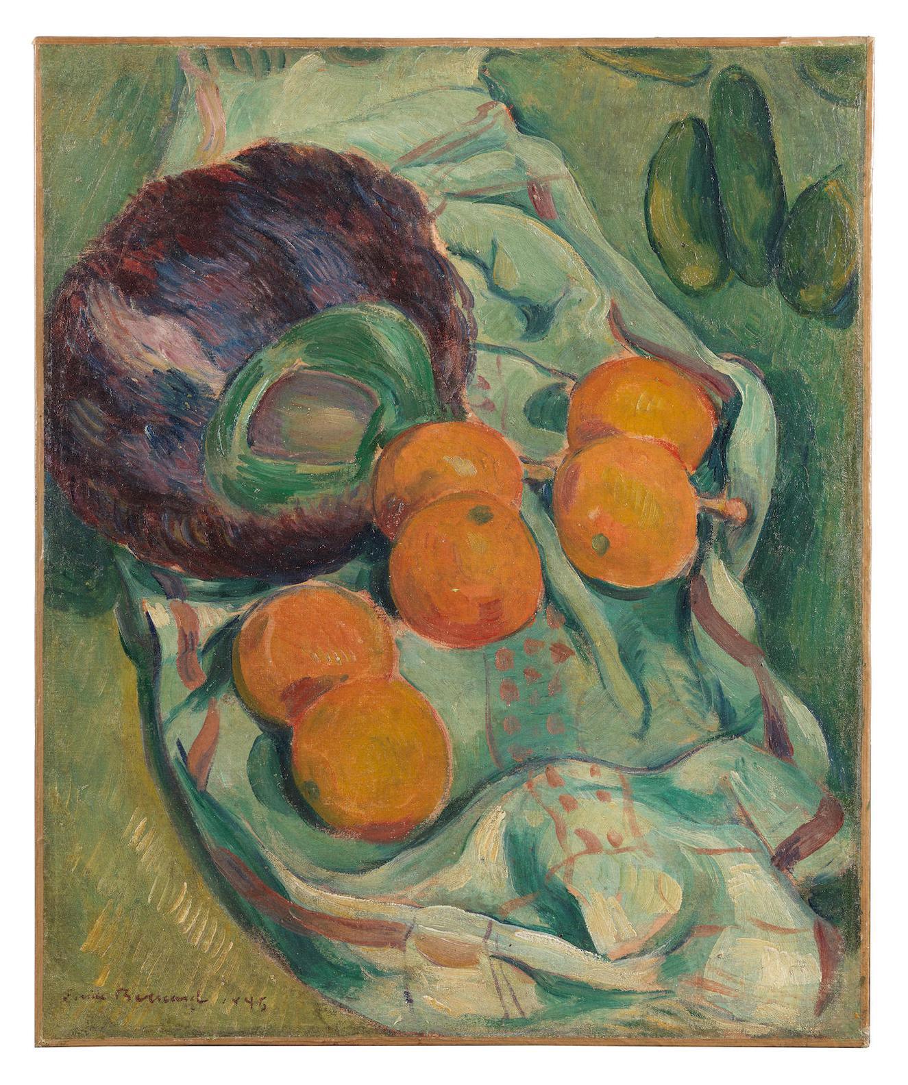 Emile Bernard-Nature Morte A Leventail De Plumes, Oranges Et Serviette-1895