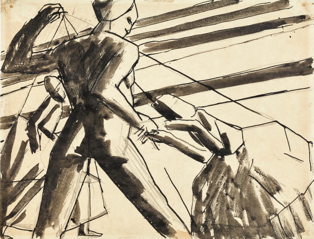 David Bomberg-Study For Ghetto Theatre-1919