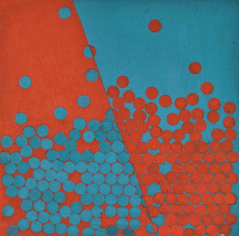 Wilhelmina Barns-Graham-Vermillon + Turquoise (Discs)-1970