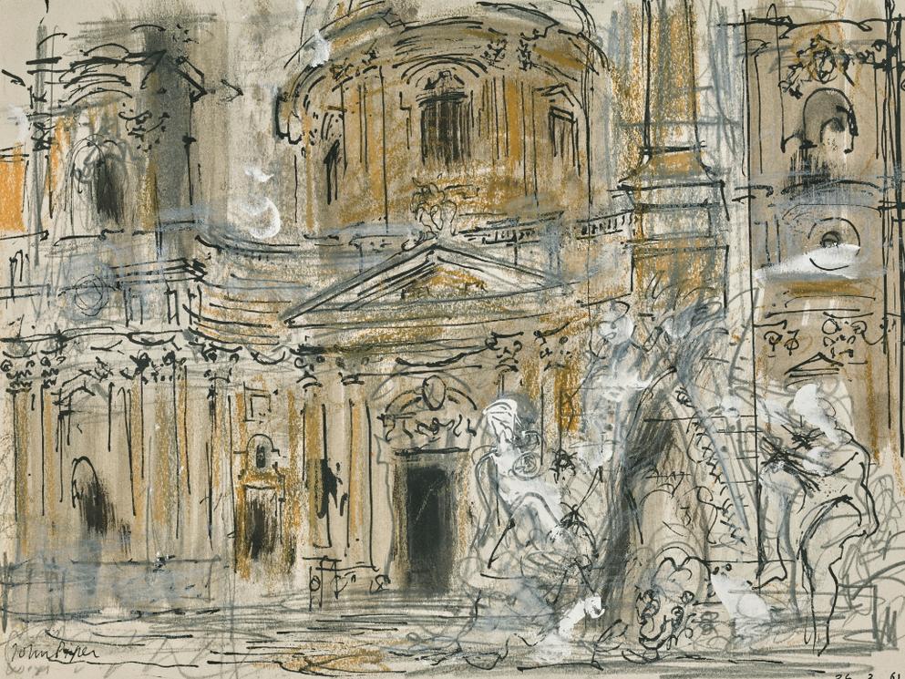 John Piper-St Agnese And The Bernini Fountain-1961