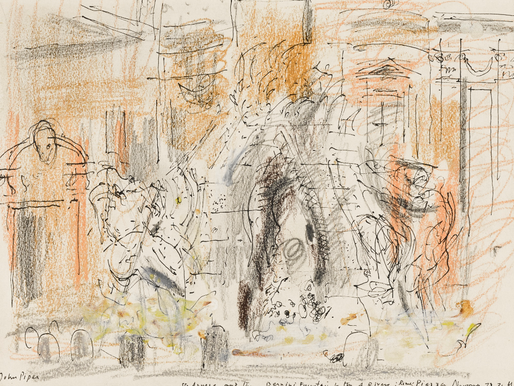 John Piper-St Agnese And The Bernini Fountain Of The 4 Rivers: Rome Piazza Navona-1961