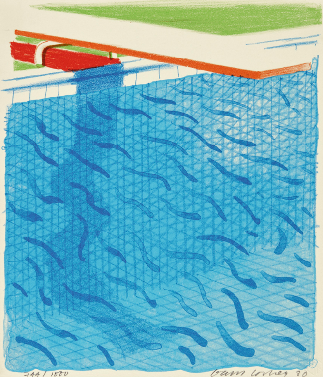 David Hockney-Pool Made With Paper And Blue Ink For Book (Mca Tokyo 234)-1980