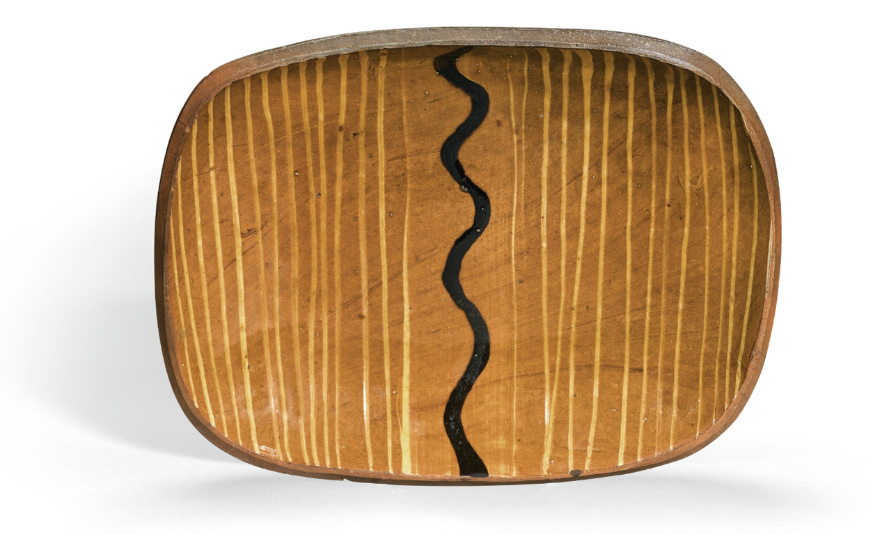 Attr. Bernard Leach - Press-Moulded Slipware Dish-1935