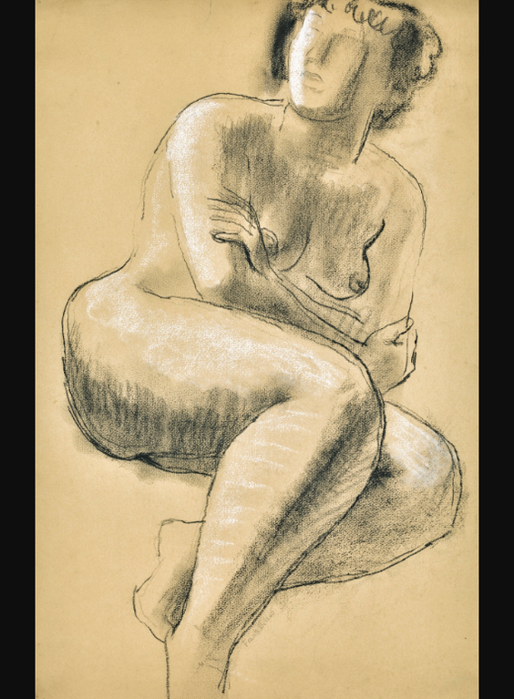 Frank Dobson-Seated Nude-