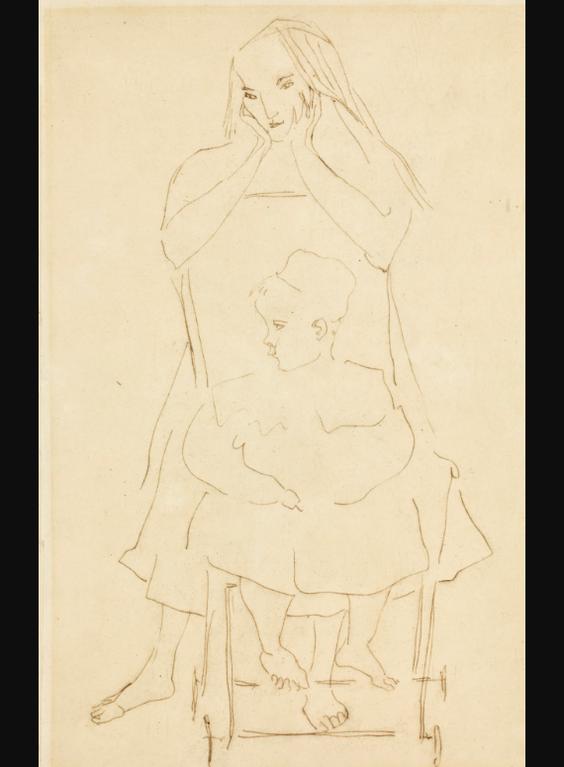 Henri Gaudier-Brzeska-Mother With Child In A Pram-1914