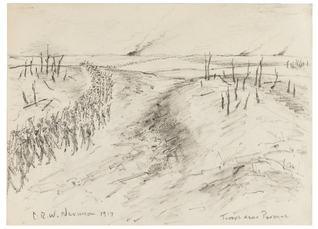 Christopher R. W. Nevinson-Troops Near Peronne-1917