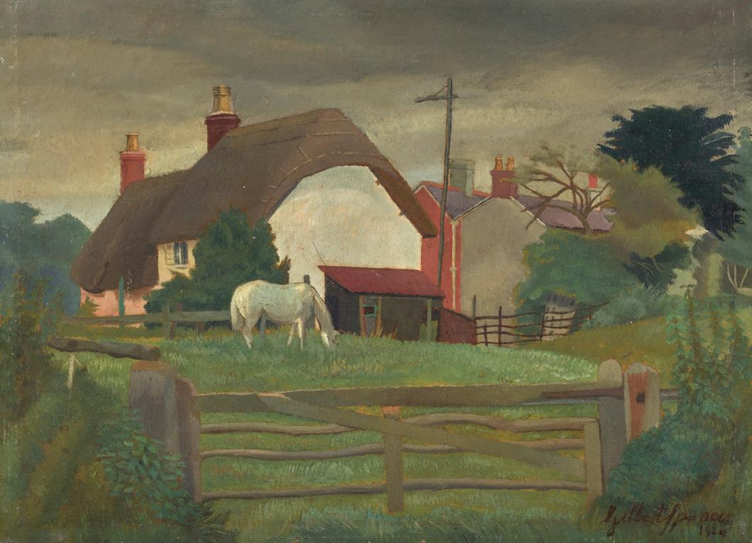 Gilbert Spencer-Horse Grazing Near Stourpaine-1924