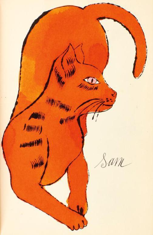 Andy Warhol-25 Cats Name[D] Sam And One Blue Pussy (Feldman & Schellmann Iv.52B-68B)-1954